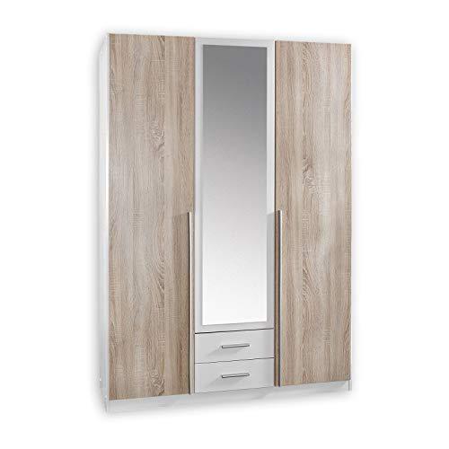 Wimex Kleiderschrank/ Drehtürenschrank Skate, 3 Türen, 2 Schubladen, 1 Spiegel, (B/H/T) 135 x 197 x 58 cm, Weiß/ Absetzung Eiche Sägerau -