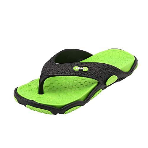AIni Herren Schuhe Beiläufiges Mode 2019 Neuer Heißer Sommer Offene Zehen Pantoffel Art und Weisestrand Schuh Massage BadezimmerFlipflops Freizeitschuhe Strand Partyschuhe (43,Grün)