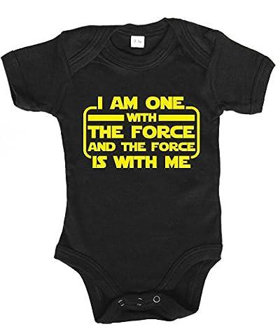 -- I am one with the force -- Babybody Schwarz, Größe 12/18 Monate (Xbox Weihnachten Spiele)