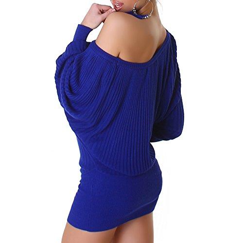 Jela London Robe en maille Minirobe chauve-souris Taille unique Gris