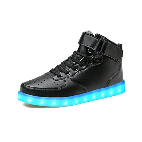 LeKuni Unisex LED Schuhe 2017 Verbesserung Blinkende Leuchtende High Top Light Up Sneakers(33,Schwarz-HighTop)