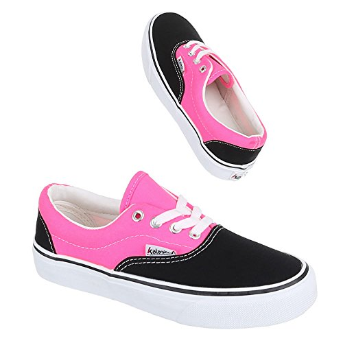 Scarpe Da Donna, Yj876001-1, Scarpe Casual Sneakers Stringate Nero Rosa