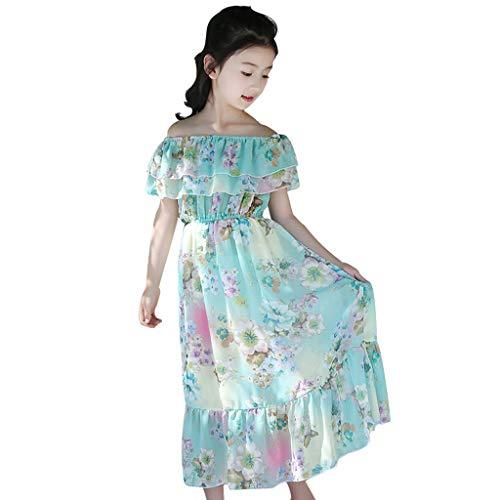 LEXUPE Kinder Teenager Kinder Mädchen Blumen Schmetterling Geraffte Schulter Prinzessin Kleid(Hellblau,160) (Für Teenager-mädchen Material)