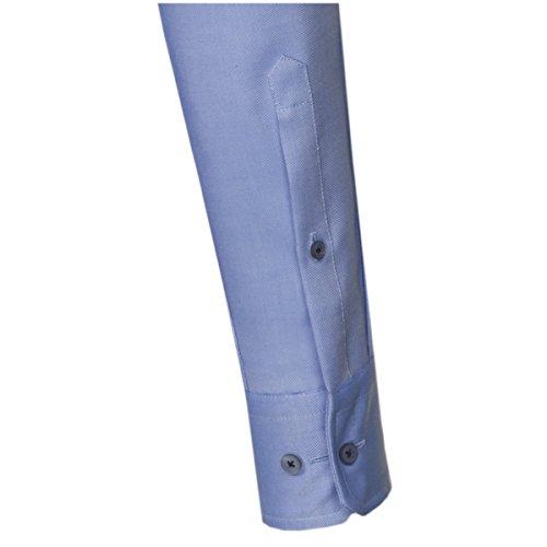 SEIDENSTICKER Herren Hemd Modern 1/1-Arm Bügelfrei Uni / Uniähnlich City-Hemd Kent-Kragen Kombimanschette weitenverstellbar blau (0014)