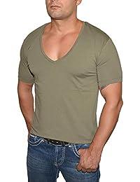 abd05f3da19419 Young&Rich / Rerock Herren Uni T-Shirt mit extra tiefem V-Ausschnitt  Slimfit deep