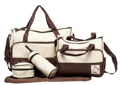 Baby World In 5 Colours, 5 Piece Baby Changing Bag - Brown by