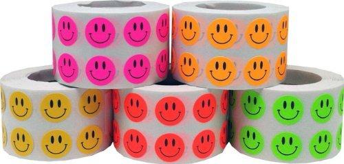 Smiley Cara Circulo Punto Pegatinas 5 Color Paquete, 13 mm 1/2 Pulgada Redondo, 1000 Etiquetas de Cada Color en un Rollo