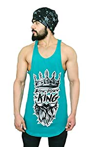 Anax Aesthetics Longline Arc Bow Down to The King Gym Wear, Sleeveless Gym Stringer, Men's Vest, Gym Vest, Tank Top, Sando Vest