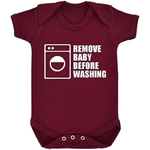 Funny rimuovere prima di ogni lavaggio Design-Body per neonato, con stampa, colore: bianco