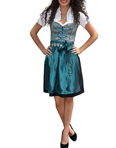 Golden Trachten-Kleid Dirndl Damen 3 TLG, Midi für Oktoberfest, mit Schürze und Bluse 485GT