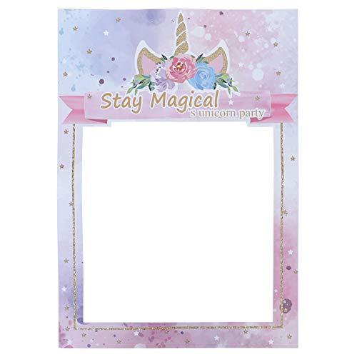Amosfun fiesta de unicornio marco de fotos romántico diy accesorios de papel para fotos fiesta de cumpleaños para niños accesorios para selfie boda fiesta de cumpleaños favor suministros de decoración