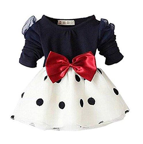 Arrowhunt Baby Mädchen Langarm Bowknot Polka Dots Organza Schwarz Kleider( für 3-24 Monate )