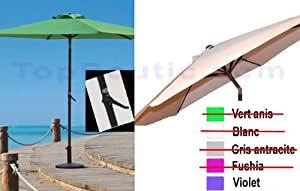 PARASOL DE JARDIN 300 cm EN ALU INCLINABLE + HAUTEUR REGLABLE PAR MANIVELLE (livré sans pieds) (indiquez nous le coloris par mail)