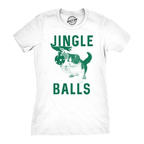Crazy Dog Tshirts - Womens Jingle Balls Tshirt Funny Cat Christmas Ornament Tee for Ladies (White) - 3XL - Damen - 3XL