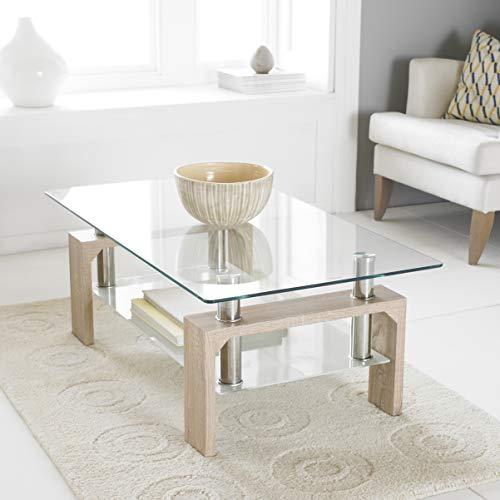 Neotechs® Table moderne rectangle rouge, verre noir, chromée, table basse de salon avec étagère inférieure