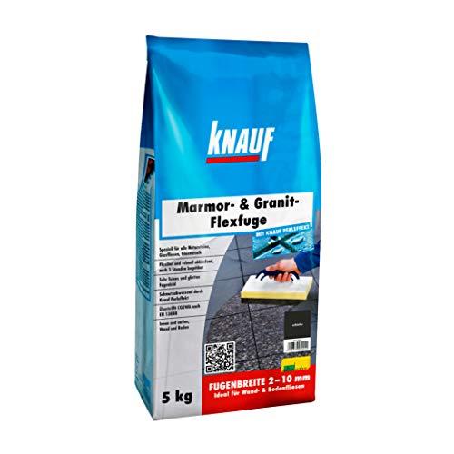 Knauf Marmor- & Granit-Flexfuge - Spezial Fugen-Mörtel auf Zement-Basis für Marmor, Granit, Natur-Steine, Glas-Fliesen und Glas-Mosaik, schnellhärtend, mit Perl-Effekt, Schiefer, 5-kg