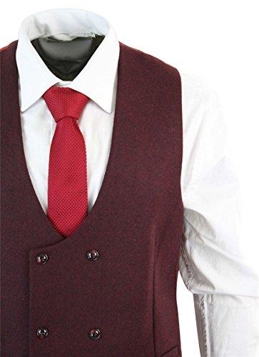 Gilet homme veston croisé feutre tweed à chevrons vintage rétro coupe cintrée Bordeaux