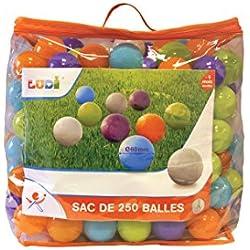 LUDI - Sac de 250 balles multicolores souples en plastique anti-écrasement. A partir de 6 mois. Balles à lancer, faire rouler et pour piscine à balles. Diamètre : 6 cm - réf. 90006