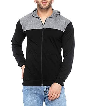 V3Squared Men's Cotton Full Sleeves Zipper Hooded T-Shirt (Black Grey, Small)