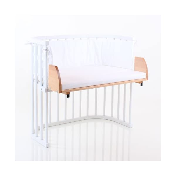 NSAuk BabyBay Maxi Extension Shelf (Varnished Beech) NSAuk Comes with additional mattress, with a breathable foam core and a soft white cover Extends the sleeping platform to the front and closes the gap, up to 15 cm, to the parents' bed Fit for maxi and box spring co-sleeper cot 2