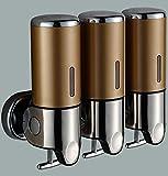 CML Duschspender Wand-Hotel Badezimmer DREI-Kopf-Seifenspender Hand Sanitizer Shampoo Box Gel Duschbox (Farbe : Champagner)