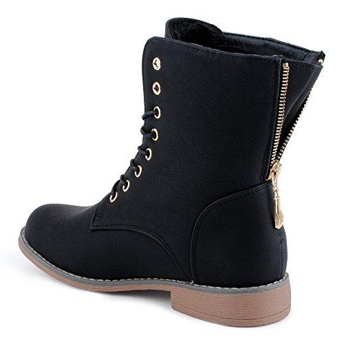 Damen Schnür Stiefeletten Biker Boots Stiefel Warm Gefütterte Schuhe Schwarz/gefüttert EU 39