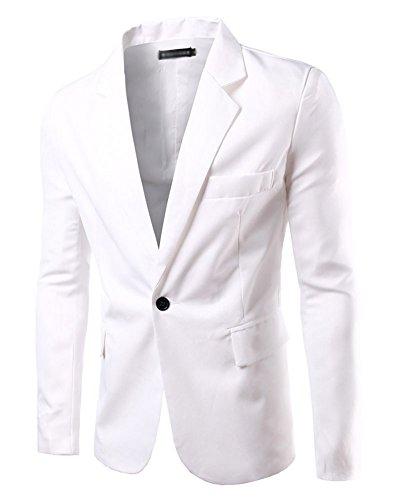 Hombre Chaqueta De Traje para Manga Larga Chaqueta Blazer Slim Fit Casual Abrigos Blanco S