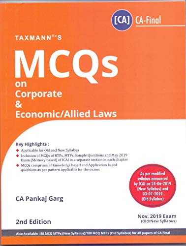 MCQs on Corporate & Economic/Allied Laws (Nov. 2019 Exam-Old/New Syllabus)(2nd Edition July 2019)