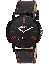 Arum New Collection Black Round Shaped Dial Leather Strap Fashion Wrist Watch For Men's And Boy's