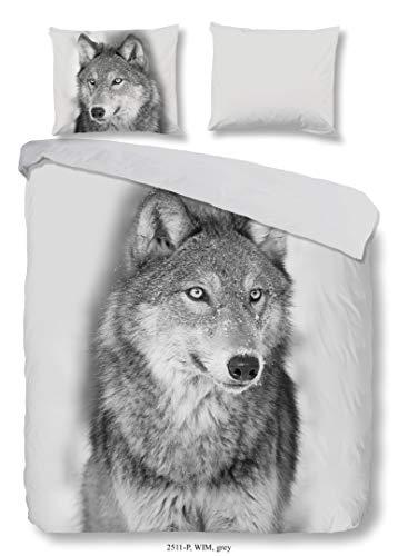 Muller Textil B.V. Good Morning Flanell,Flanellbettwäsche, Bettwäsche Wolf, 135 x 200 cm Grau