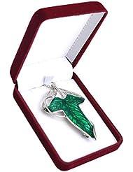 De terciopelo color rojo caja - Woodroffe de hojas de broche con forma de el Señor de los anillos Hobbit Frodo Aragón lámpara de techo collar con colgante en forma