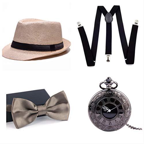 thematys Al Capone Mafia Gangster Hut + Fliege + Hosenträger + Taschenuhr - 20er Jahre Kostüm-Set für Damen & Herren - perfekt für Fasching & Karneval (8)