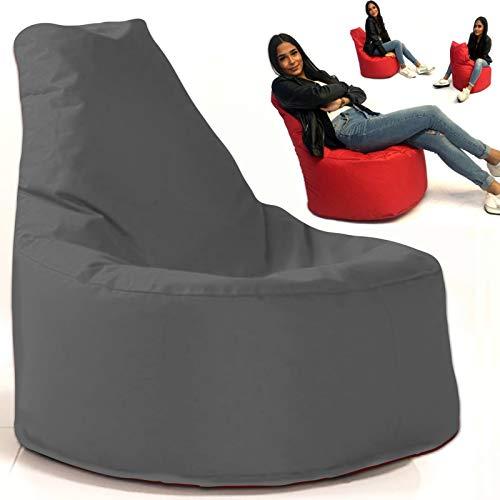 Sitzsack Sessel - für Kinder und Erwachsene - In & Outdoor Sitzsäcke Kissen Sofa Hocker Sitzkissen Bodenkissen mit Styropor Füllung Bean Bag Sitzsäcke Möbel Kissen (Anthrazit) -