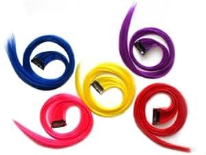 """56 cm clip-in droite Extension de cheveux (rouge, violet, rose néon, bleu et jaune) en gros / 22"""" Clip-in Straight Hair Extension (Red, Purple, Neon Pink, Blue & Yellow)"""