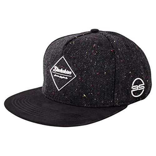 Blackskies Hades Snapback Cap | Herren Damen Schirm Premium Baseball Mütze Kappe Wolle - Schwarz (Schwarze Baseball-mütze-verstellbar)