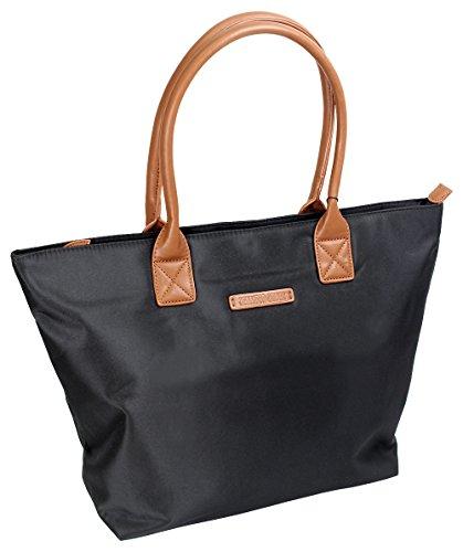 Damen Shopper Handtasche Elegant Henkeltasche Schultertasche aus Nylon Robust Groß Schwarz (2347) (Gucci Handtaschen Logo)