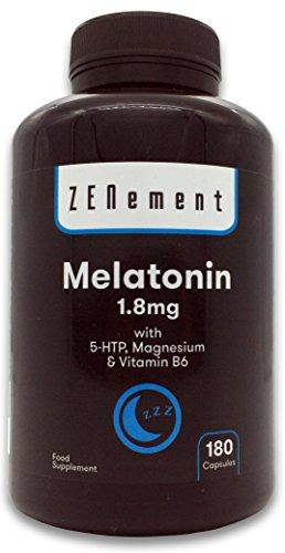 Melatonina 1,8 mg con 5-HTP, Magnesio y Vitamina B6, 180 Cápsulas | Ayuda con el insomnio o trastornos del sueño | Vegano, No-GMO, GMP, libre de aditivos, sin Gluten | de Zenement