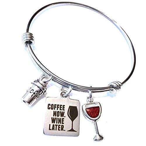 Jesse Janes Jewelry Damenkaffee jetzt, Wein später, Kaffee und Weinliebhaber Geschenke Armreif