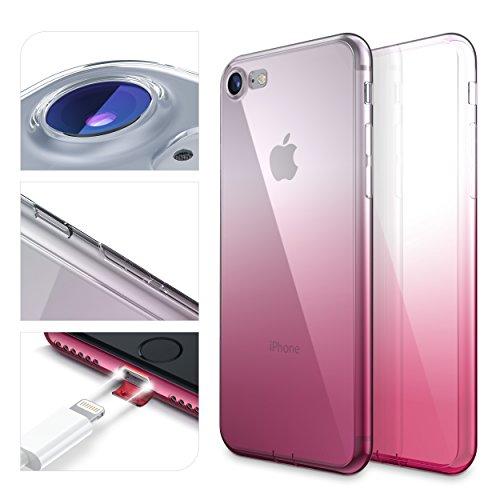 URCOVER Custodia Protettiva Arcobaleno per Apple iPhone 7 | Back Cover Morbida in Silicone TPU | Slim Case Trasparente Ultra Sottile in Fucsia