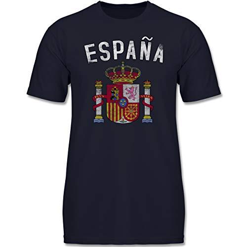 Fußball-Europameisterschaft 2020 Kinder - Spanien Wappen - 164 (14-15 Jahre) - Dunkelblau - F130K - Jungen Kinder T-Shirt