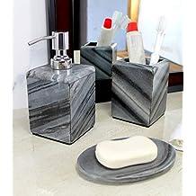 KLEO - Juego de Accesorios de baño de Piedra Natural - Accesorios de baño Incluye dispensador