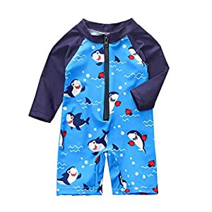 Toddler Baby Boys Girls Cartoon Swimsuit Kanpola 2020 Long Sleeve Jumpsuit Swimwear Bathing Suit (9-12 Months, Blue)