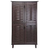 Wooden Shoe Cabinet, Dark Brown
