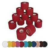 BB Sport 12 rollos Kinesiologia tape 5 m x 5,0 cm cinta kinesiologica en diferentes colores, Color:rojo