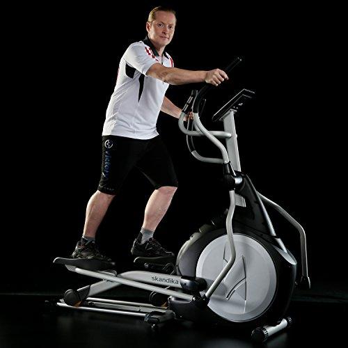 Skandika Crosstrainer CardioCross Carbon Pro SF-3200, 23,5 kg Schwungmasse, wartungsarmes Bremssytem über Magnettechnologie, Transportrollen, Kalorienverbrauch, Zeit und und Pulsmessung - 4