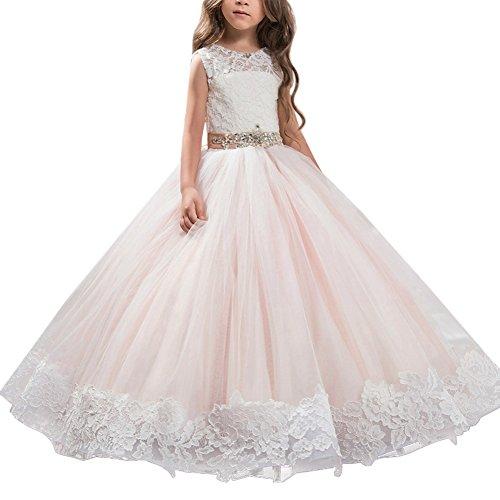 Mädchen Kostüm Für Teenager Ein - Mädchen Applique Prinzessin Lang Kleid Elegante Tüll Kleid für Hochzeit Brautjungfer #12 Blumen Rosa 12-13 Jahre