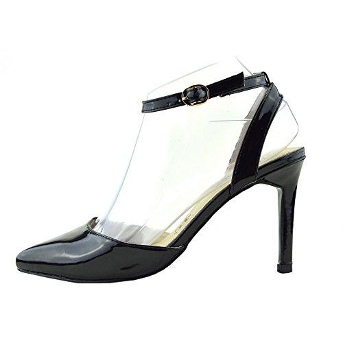 Kick Footwear - Donna tacco basso Scarpe di Corte tribunale del brevetto cinturini alla caviglia Nero-16047