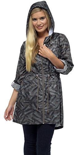 Tom Franks Damen Tasche Regen Mac Reißverschluss halb angepasst Jacke - Grünes Blatt, (Kostüm Tasche Blatt)