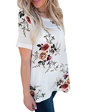 PAOLIAN Mujer Verano Gran Tamaño Camiseta Impresiones Florales Suelto Cuello Redondo Manga Corta Casual Gasa Blusas