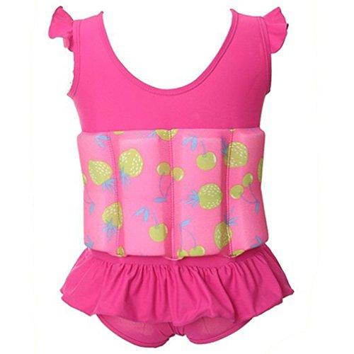 für Kinder Baby Schwimmen Bojen-Badeanzug Bodycon Jumpsuit Bademode Schwimmhilfe mit entnehmbare Auftriebsbojen für Learn Swim (L (2-3 Jahre), Rosa)